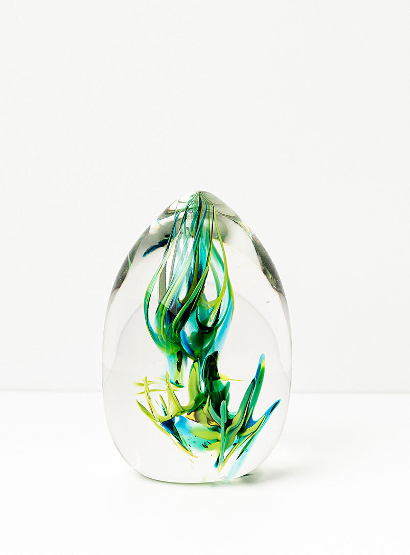 Isabelle Alepins Green Aquatic glass paperweight