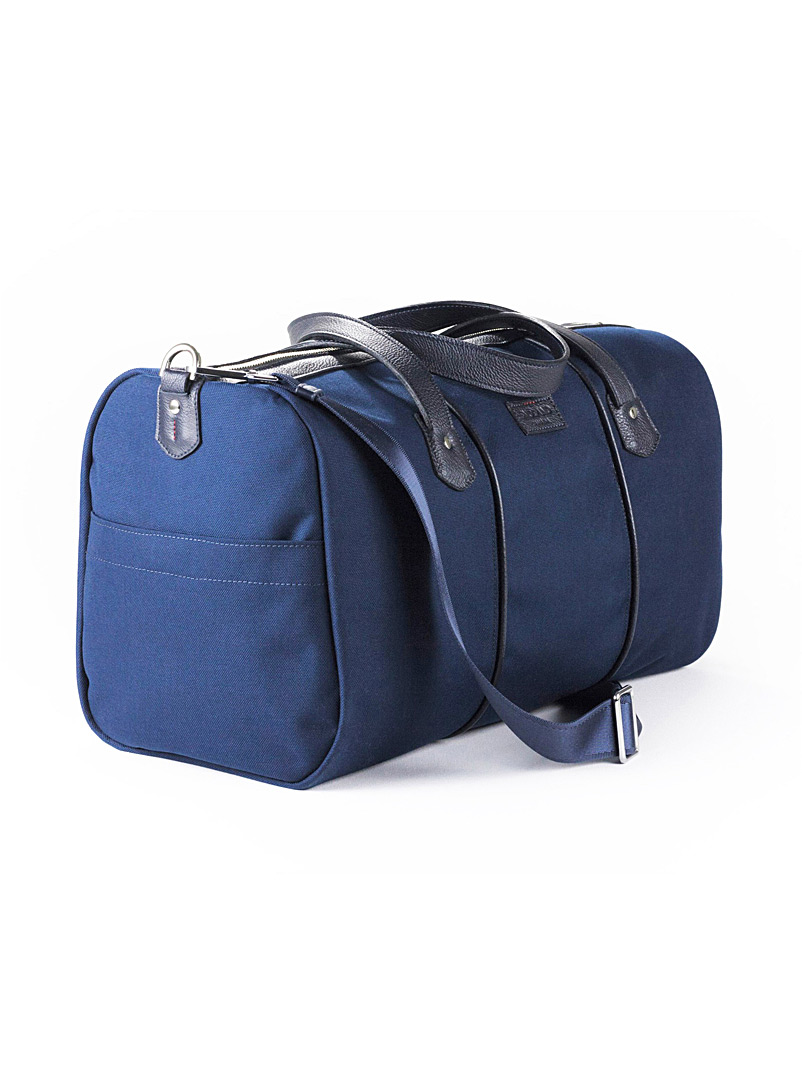 Snoland Marine Blue Nylon and leather travel bag