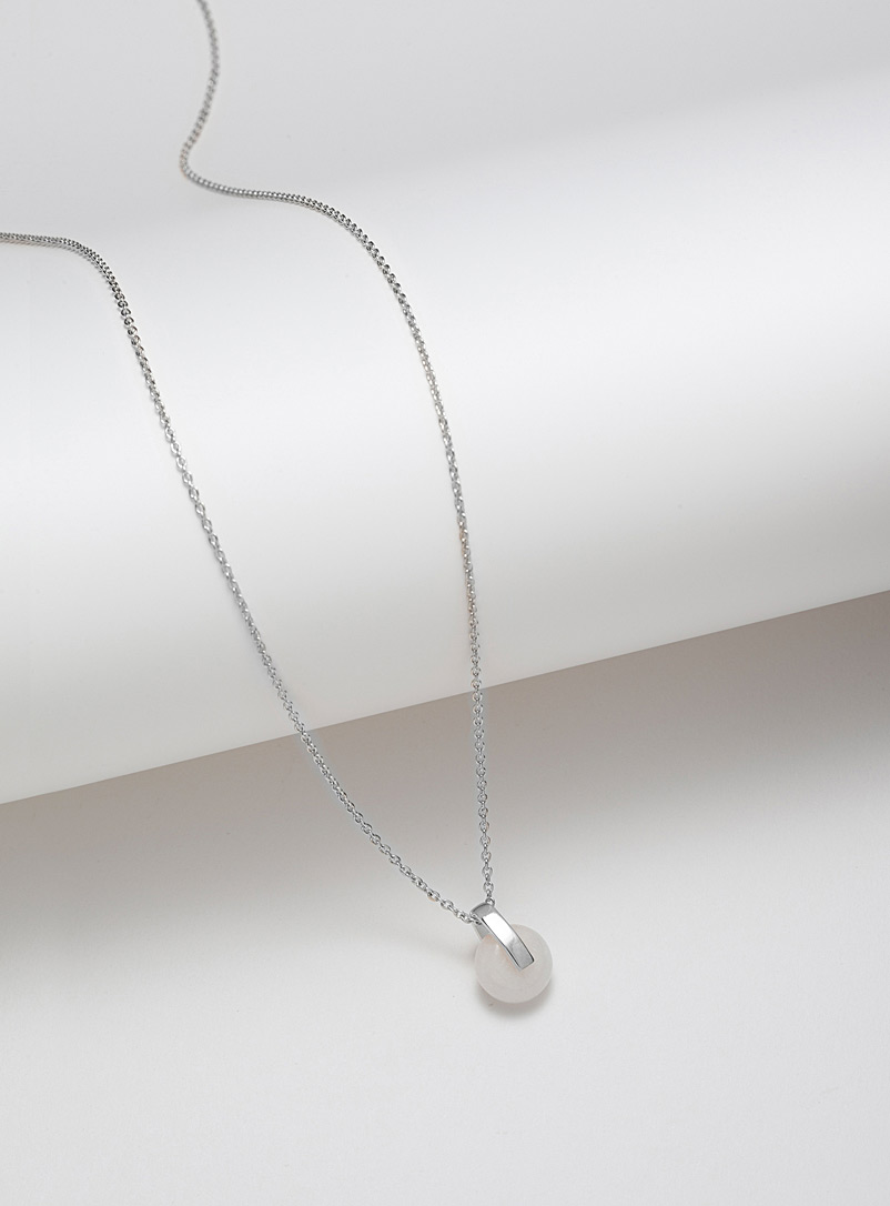 Ve Silver Rhea white jade necklace