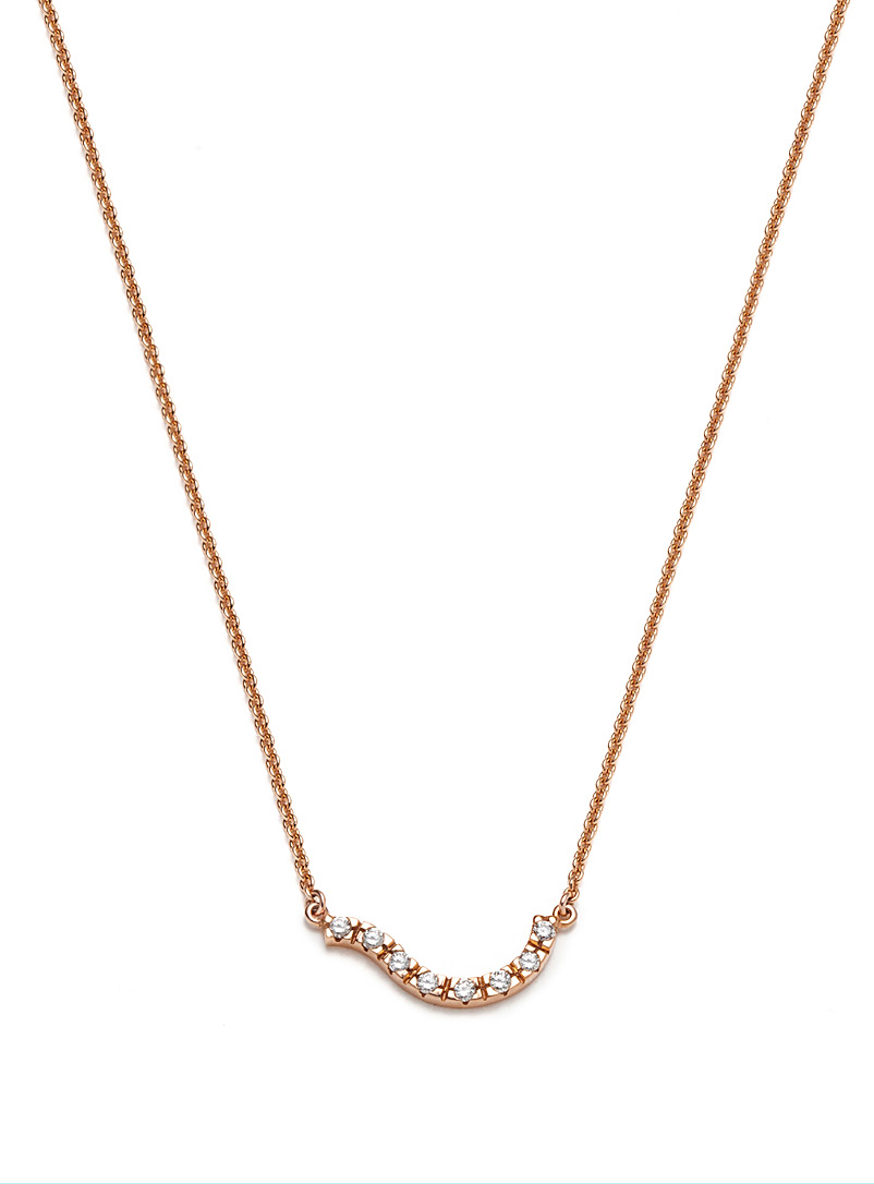Atelier LAF Gold Rose gold and diamond wave necklace