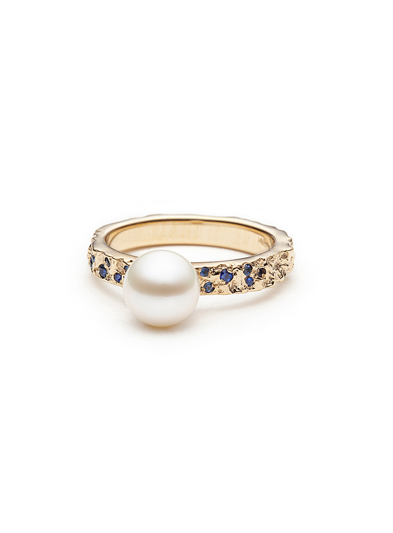Atelier l.a.f. Gold Sapphire and pearl gold mineral ring