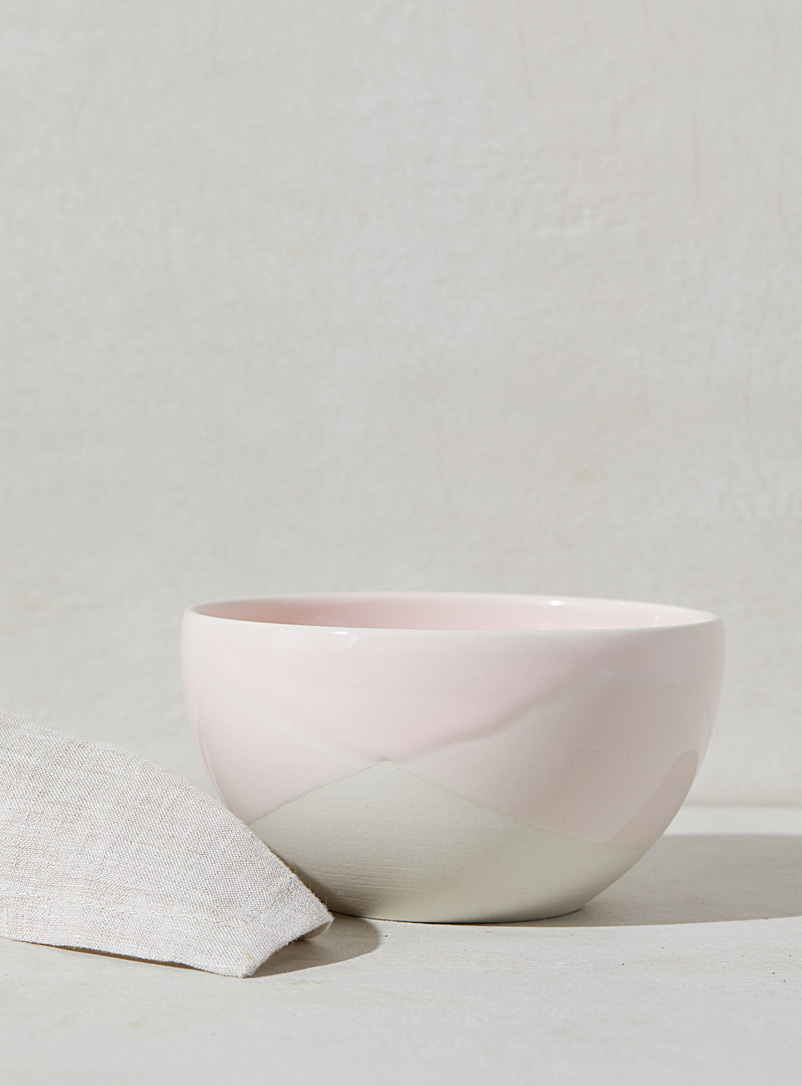 Poterie Bonmatin Pink Duo small stoneware and porcelain bowl