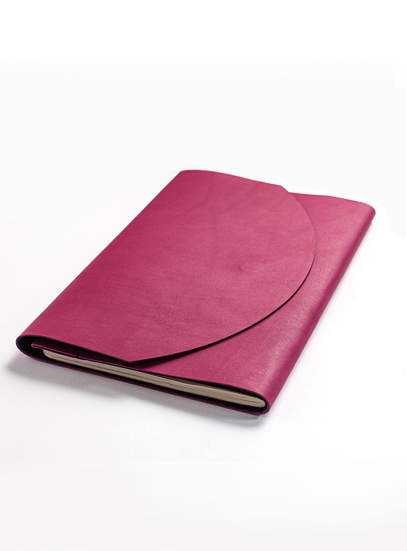 Delphine Platten Pink Leather and suede magnetic closure notebook protector  2 sizes available