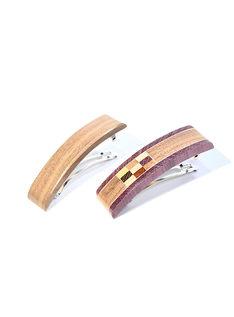 Isabelle Ferland Brown Walnut barrettes  Set of 2