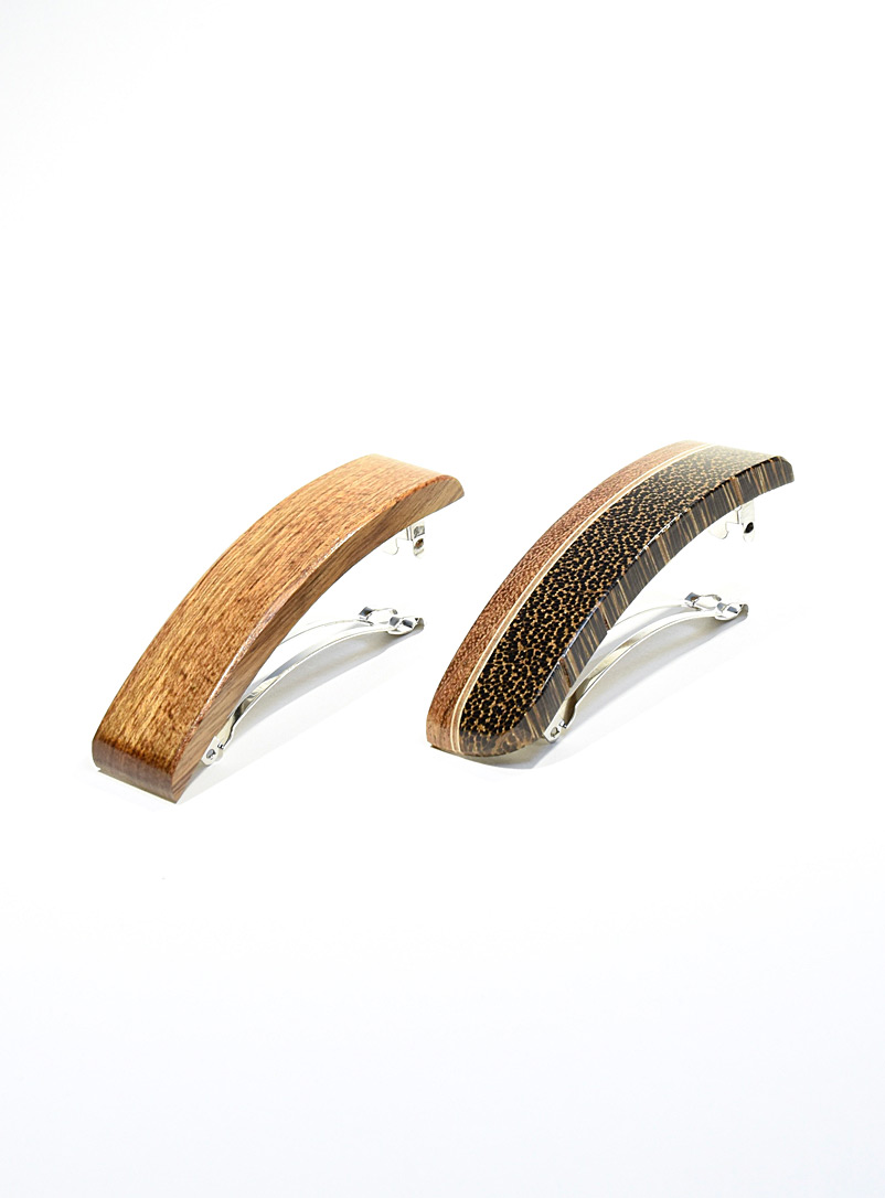 Isabelle Ferland Brown Mixed wood barrettes  Set of 2