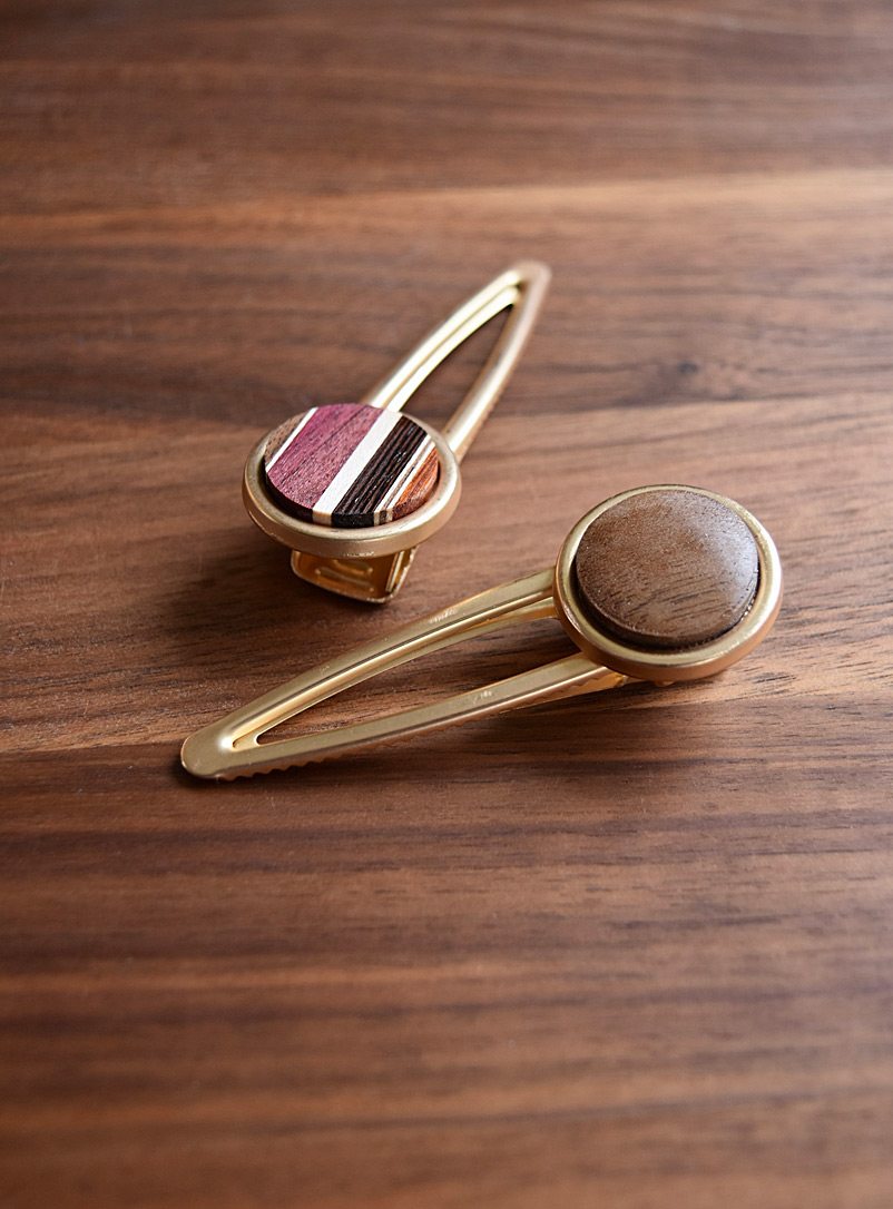 Isabelle Ferland Assorted Wooden hair clips Set of 2