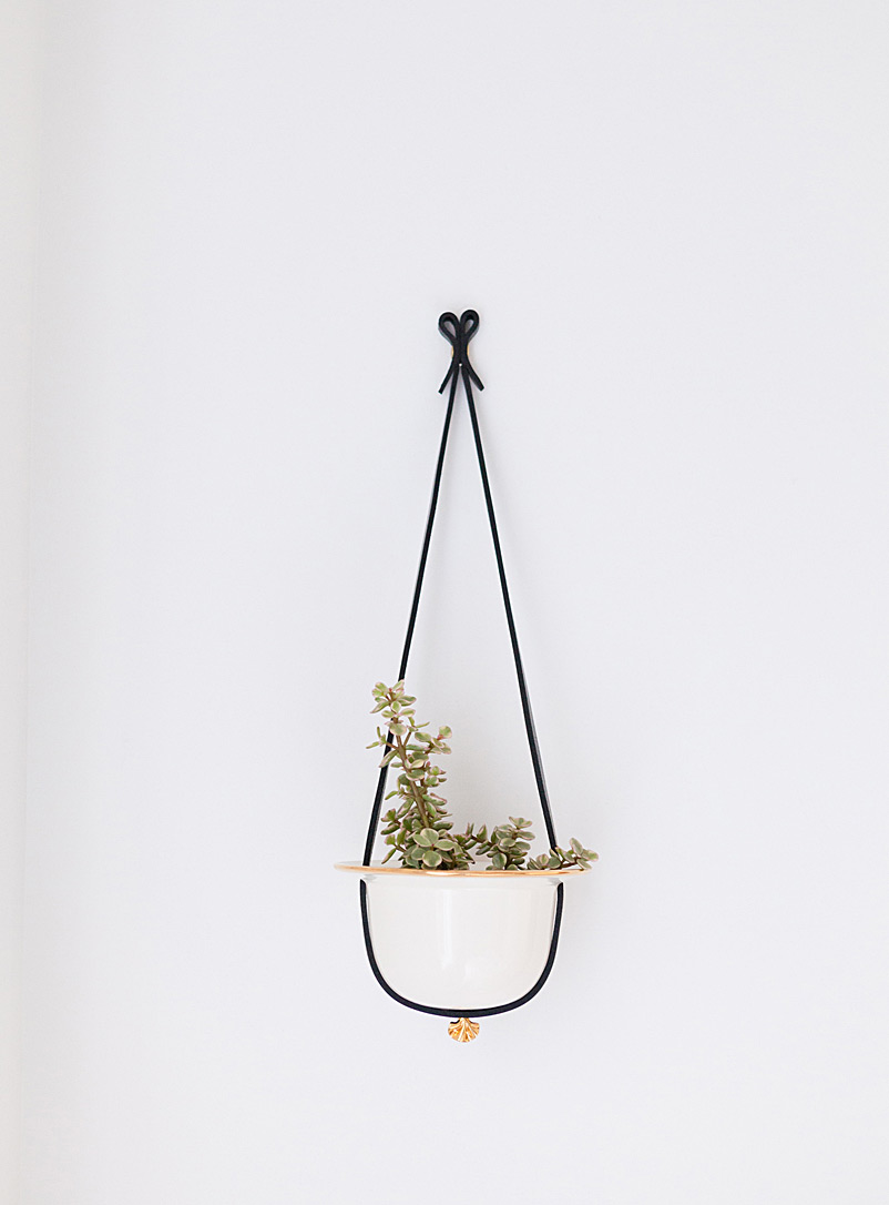 Flechr Black Small leather and gold hanging planter