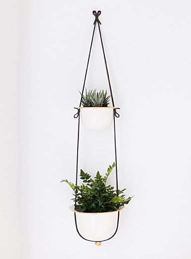 Flechr Black Double leather and gold hanging planter