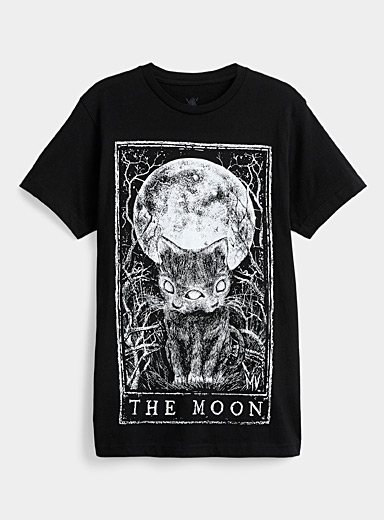Mortus Viventi: Le t-shirt The Moon Noir pour femme