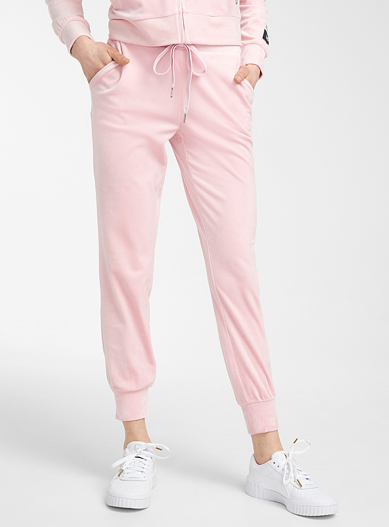 Juicy Couture Pink Pink velvet joggers for women
