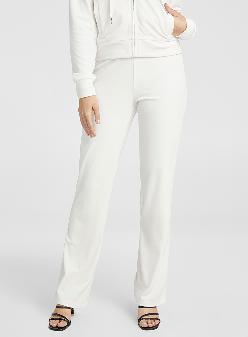 Juicy Couture Ivory White Crystal logo velvet pant for women