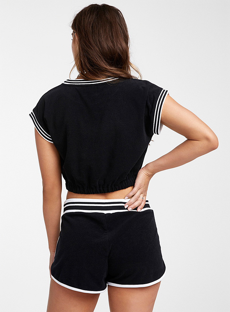 Juicy Couture Black Terry jersey athletic crop top for women