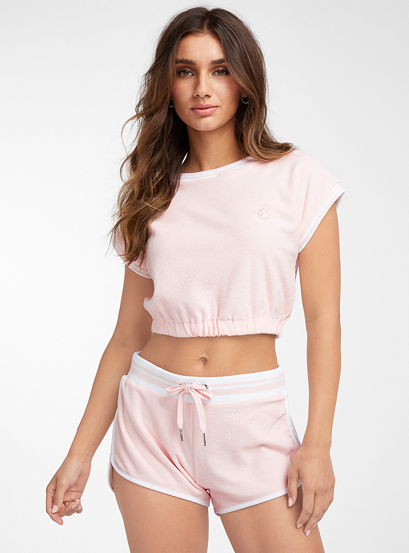 Juicy Couture Pink Terry jersey athletic crop top for women