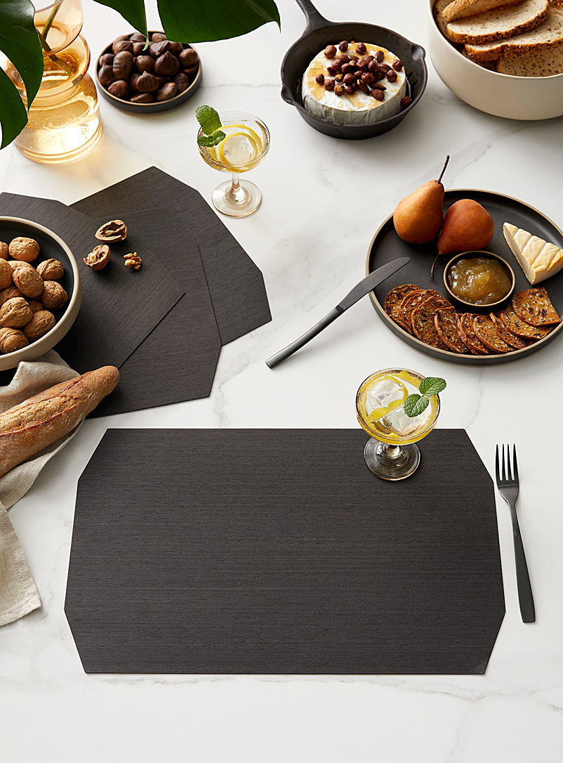 Bom(design) Charcoal Genuine wood placemats  Set of 4