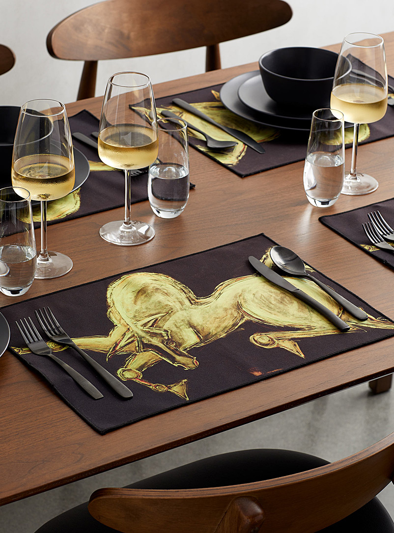 Shanah Equestrian Black Bravario placemats  Set of 4