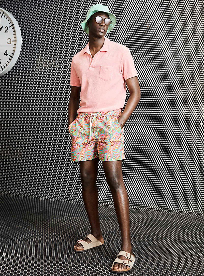Oas Pink Pink terry polo for men
