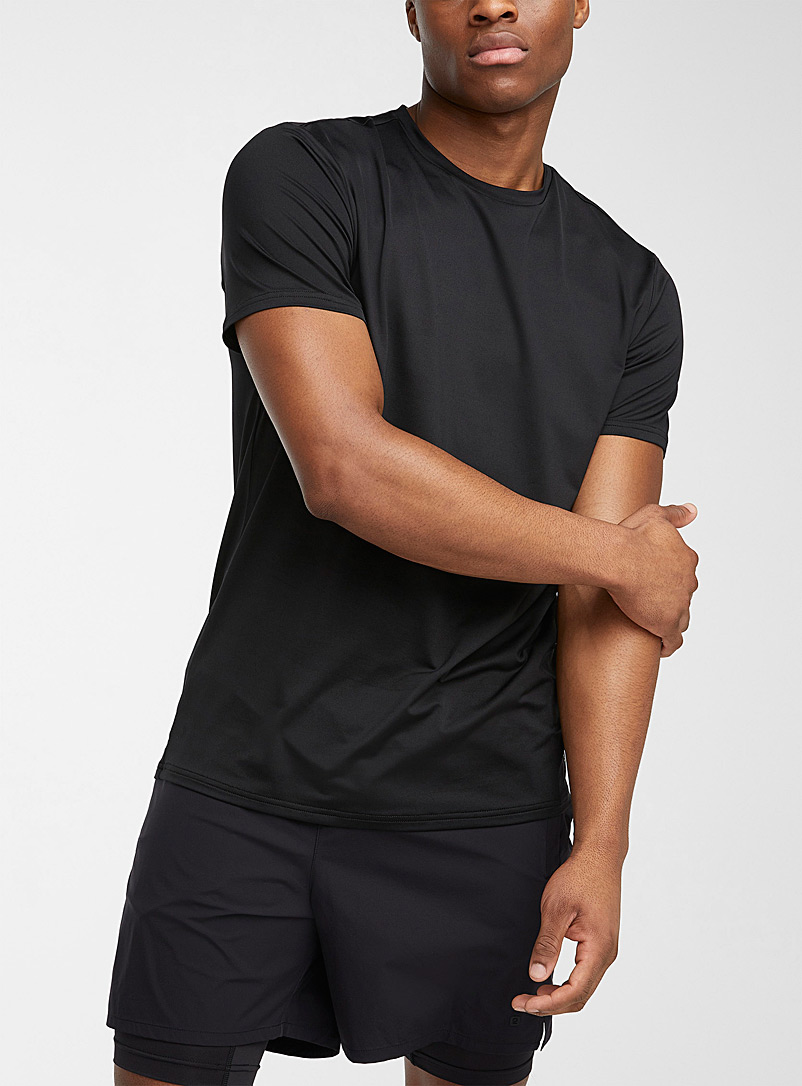I.FIV5 Black Eco-friendly stretch microfibre T-shirt for men