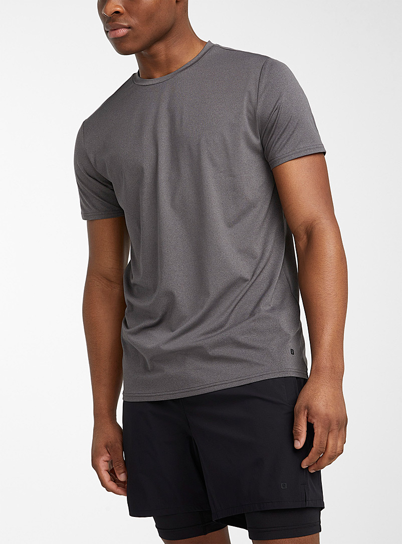 I.FIV5 Patterned Grey Eco-friendly stretch microfibre T-shirt for men