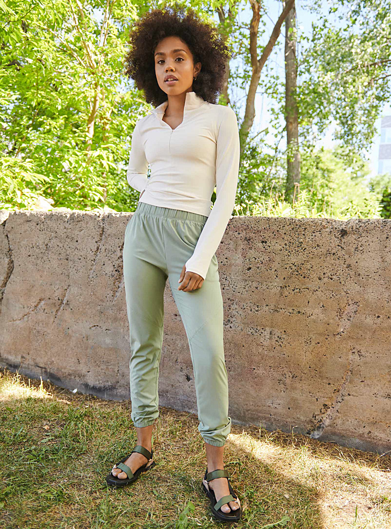 I.FIV5 Mossy Green Borealis soft weave jogger for women
