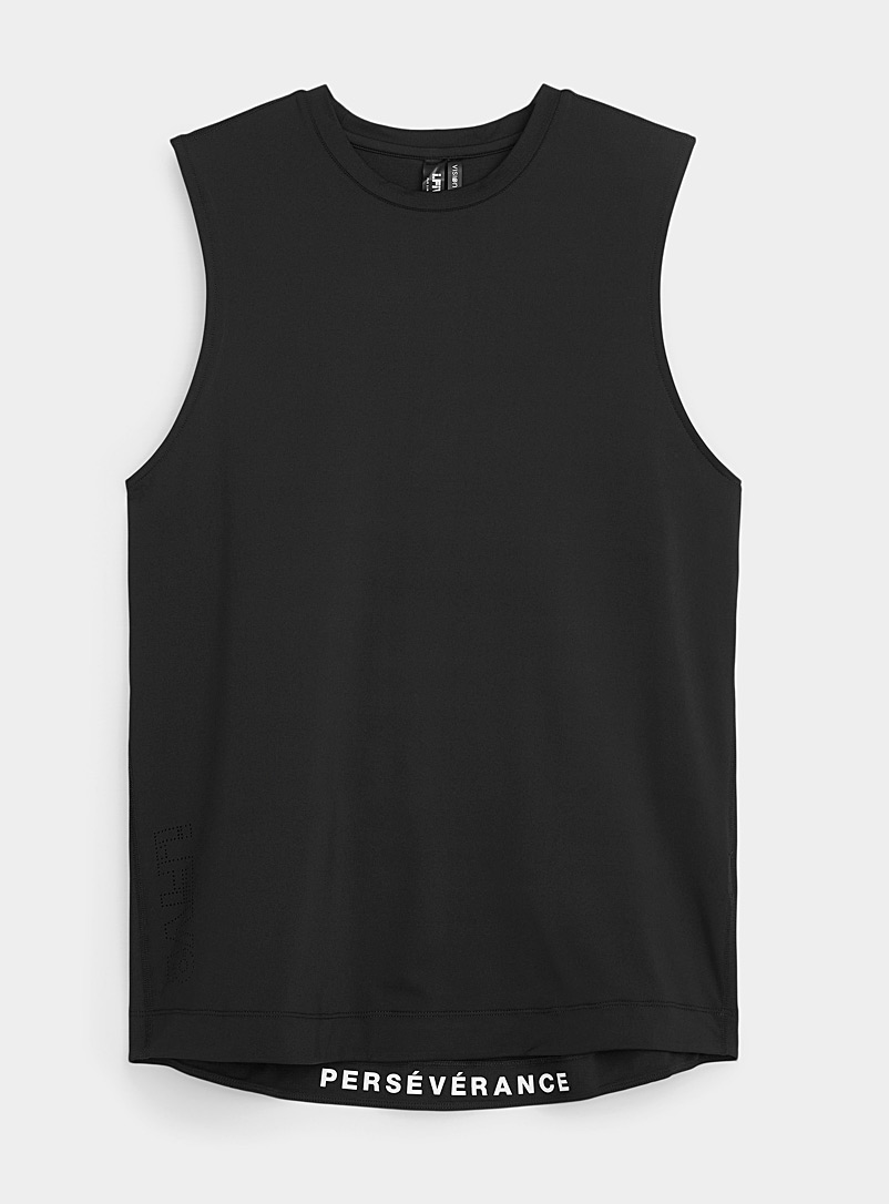 I.FIV5 Black Recycled microfibre muscle tank for men