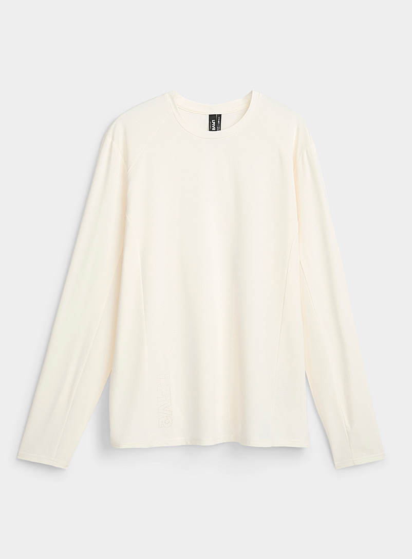 I.FIV5 Ivory White Micro-perforated long-sleeve T-shirt for men