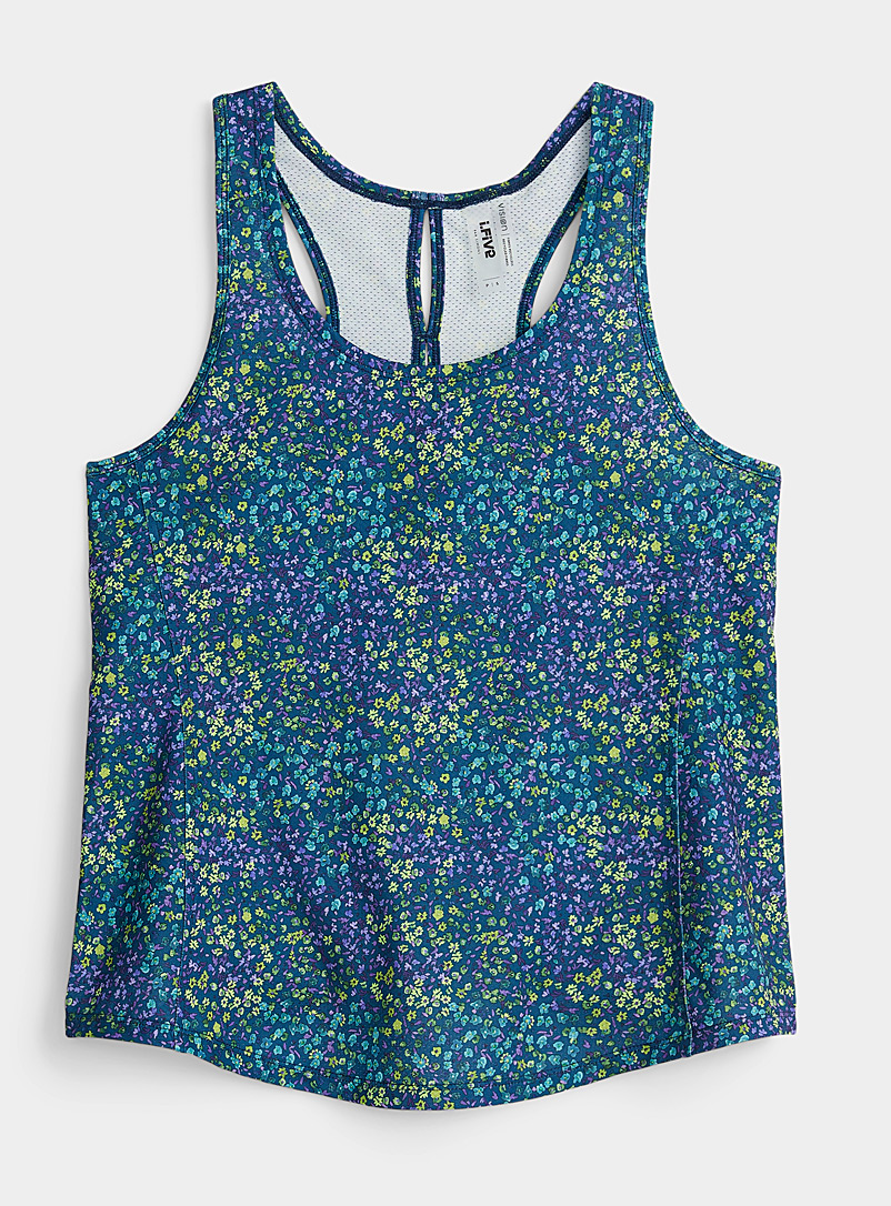 I.FIV5 Patterned Green Openwork racerback cami for women
