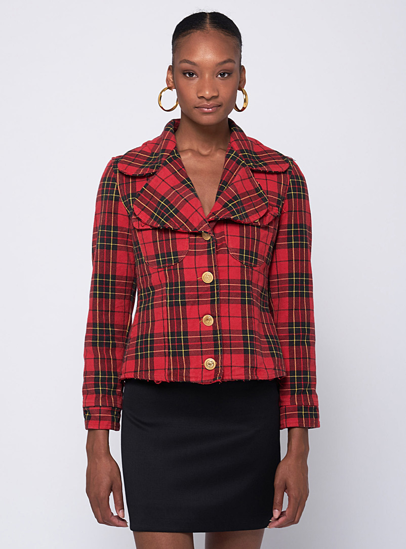 VSP Consignment Red Plaid schoolboy blazer  Moschino for women