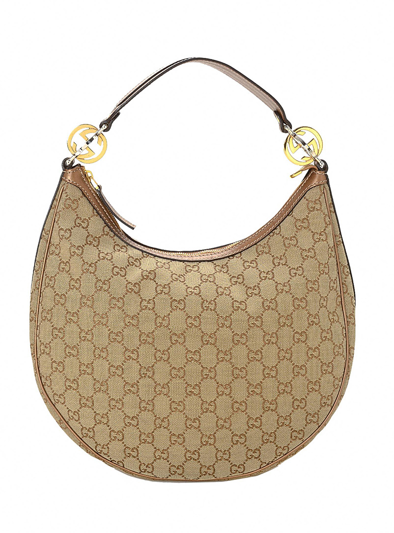 LXRandCo Cream Beige Bronze GG canvas Twins hobo bag  Gucci for women