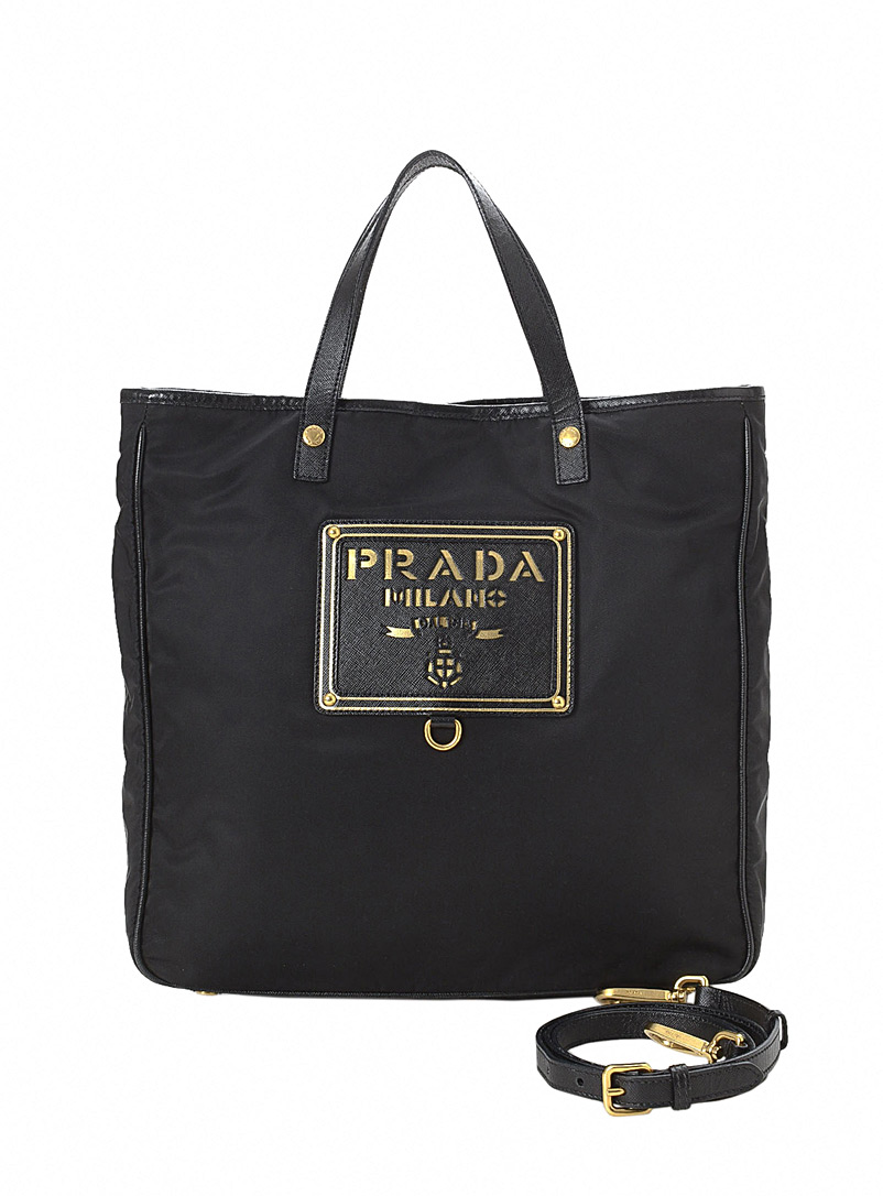 LXRandCo Black Giant logo Tessuto tote bag  Prada for women