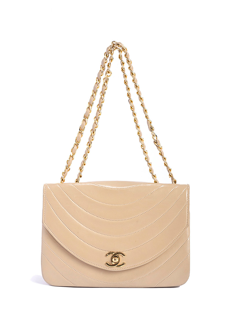 Edito Vintage Cream Beige Mademoiselle chain flap bag  Chanel for women