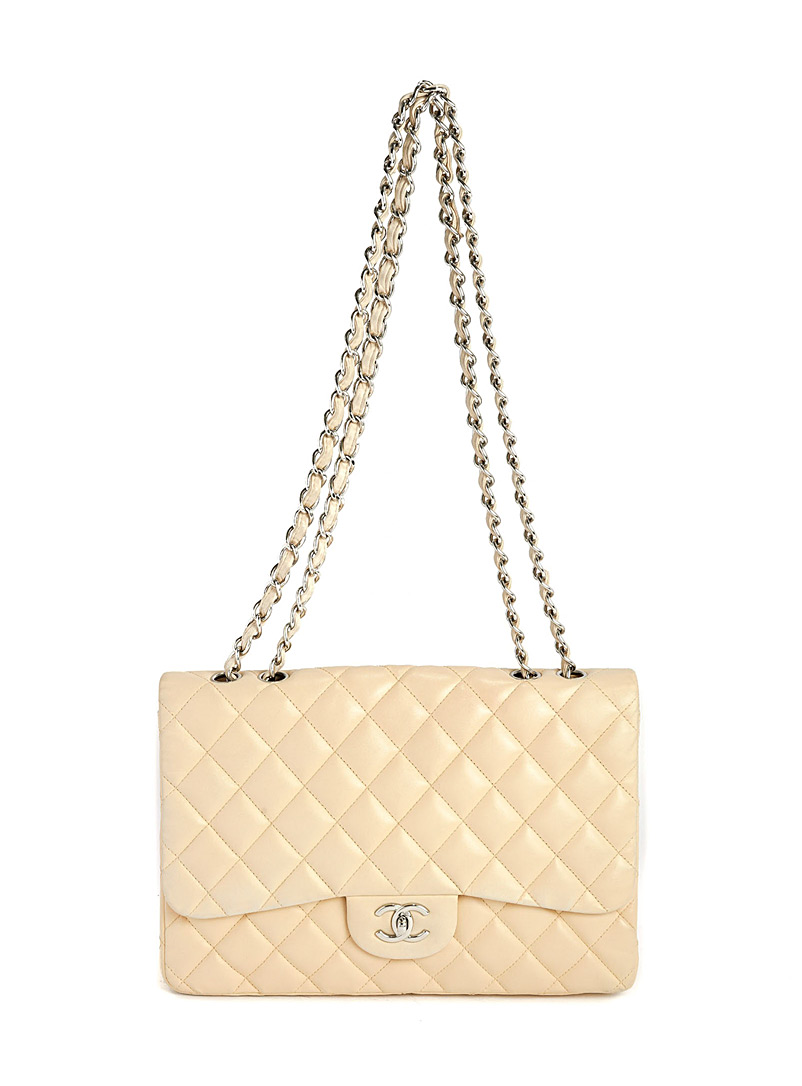 Edito Vintage Cream Beige Classic Jumbo chain flap bag  Chanel for women