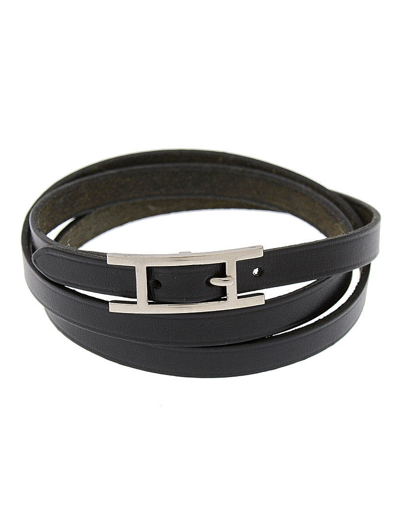 Edito Vintage Black Hapi leather bracelet Hermès for men