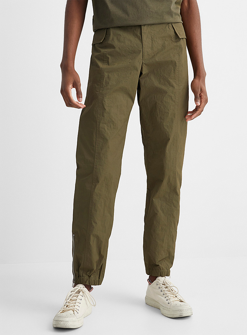 Helmut Lang Mossy Green Zip ankle-length cargo pant for men
