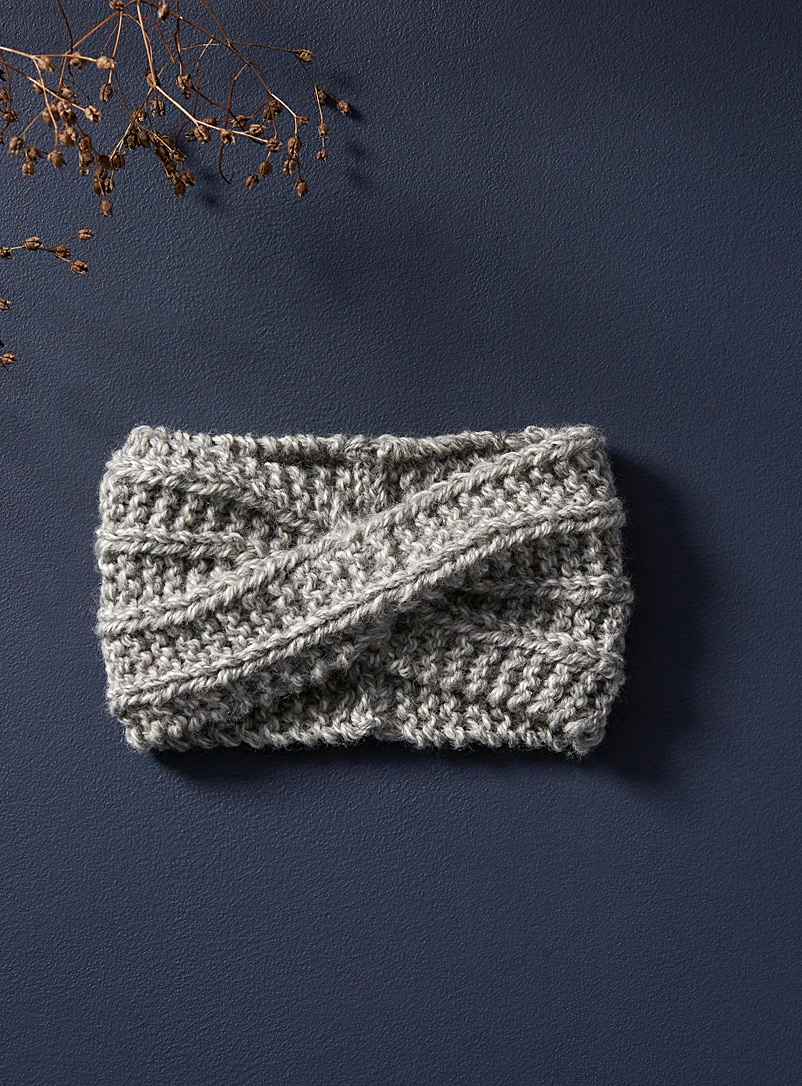 Les tricots et laine Grey Twisted wool headband
