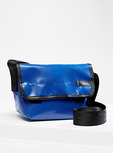 Duel Blue Small recycled tarp messenger bag