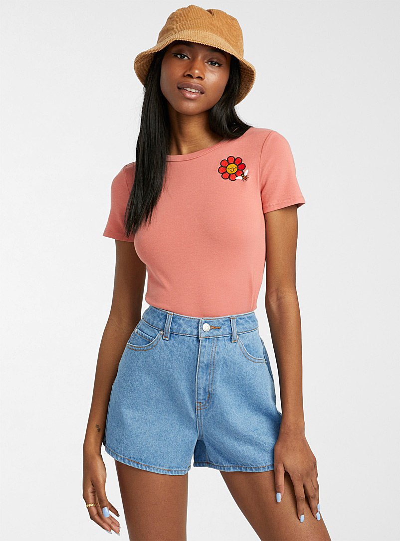 Twik Peach Flower and bee cropped T-shirt for women