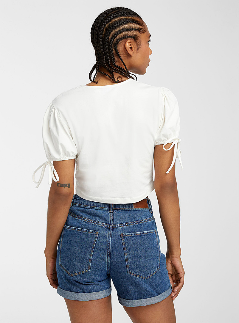 Icône White Tie-sleeve cropped T-shirt for women