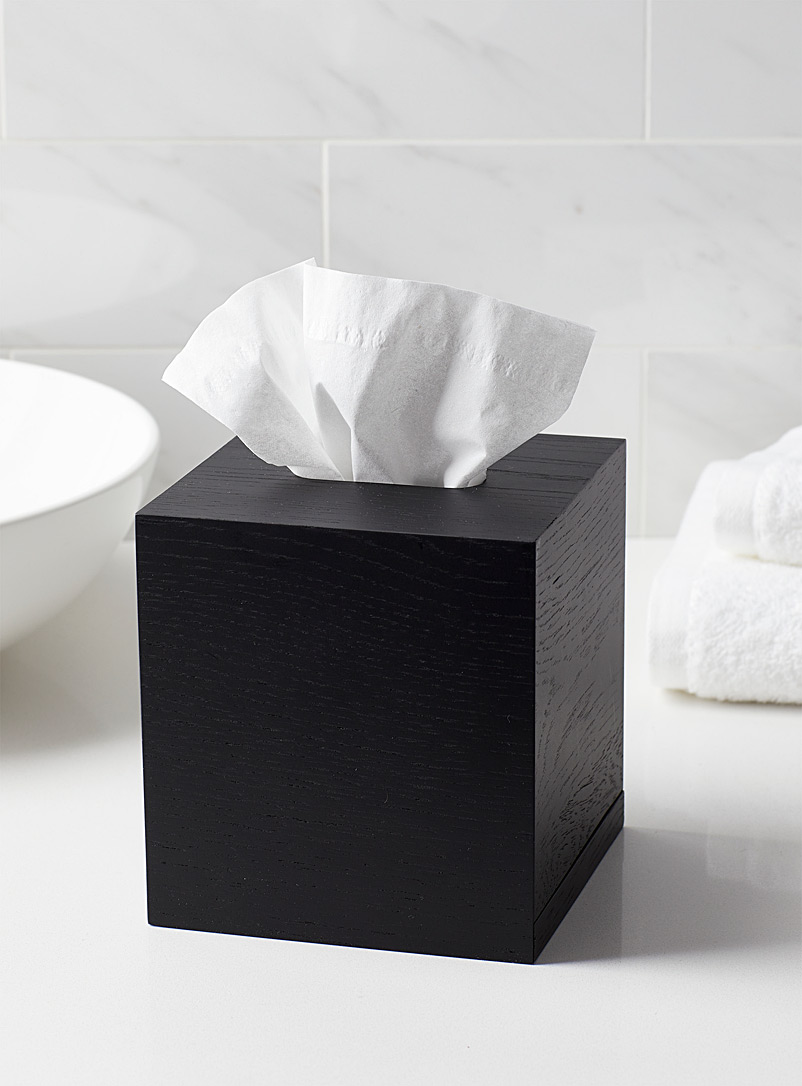 Citta Design Black Black wooden cube tissue box