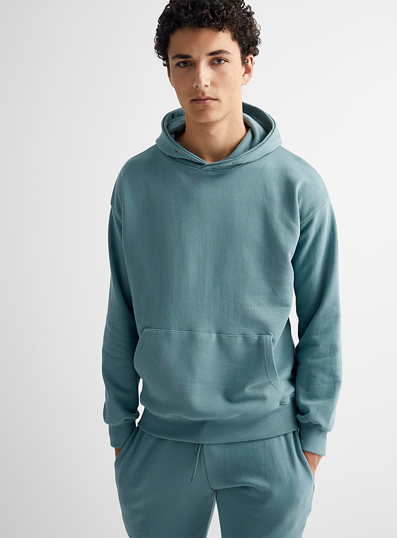 Le 31 Slate Blue Snap-button collar hoodie for men