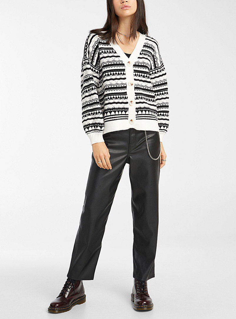 Twik Black and White Buttoned open cardigan for women