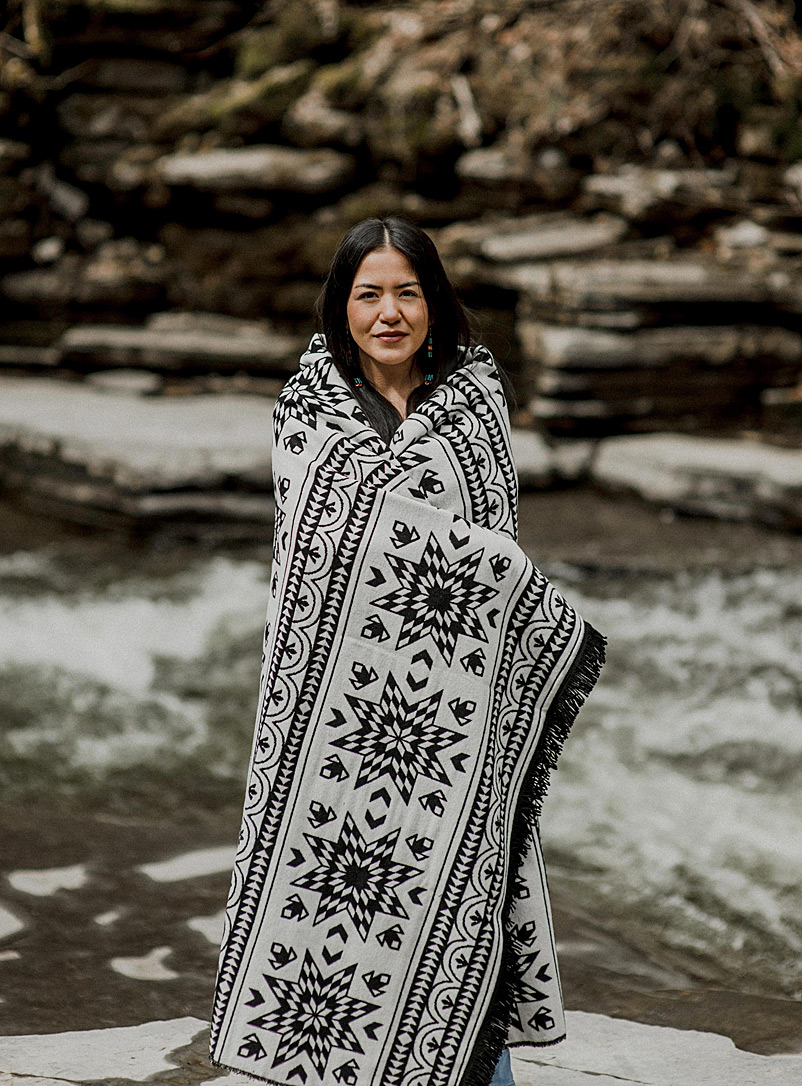 Mini Tipi Black and White Day and night blanket 152 x 203 cm