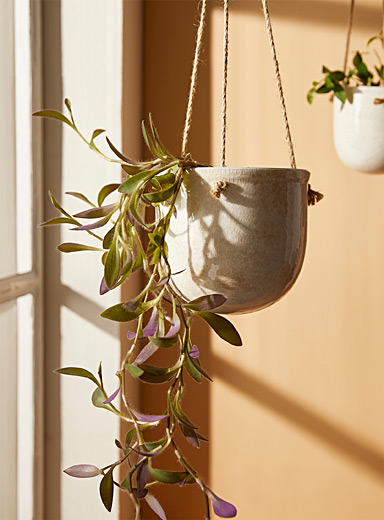 Antique ceramic hanging planter 7""