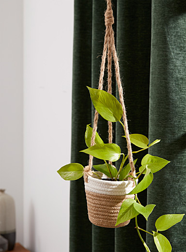 Braided cotton and jute hanging planter 5""