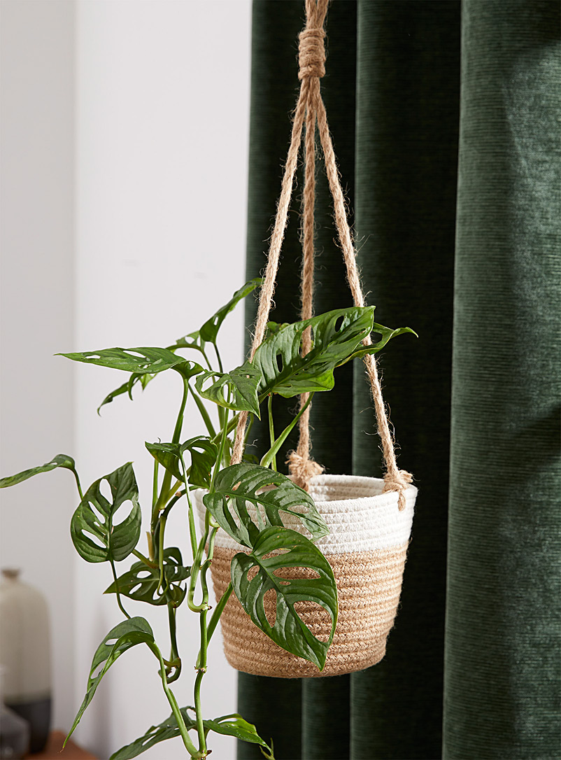 Simons Maison Sand Braided cotton and jute hanging planter 7 in