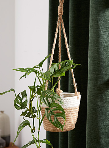 """Braided cotton and jute hanging planter 7"""""""