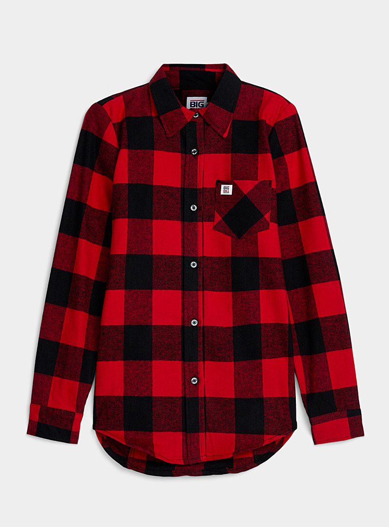 Icône Patterned Red Buffalo check flannel shirt for women