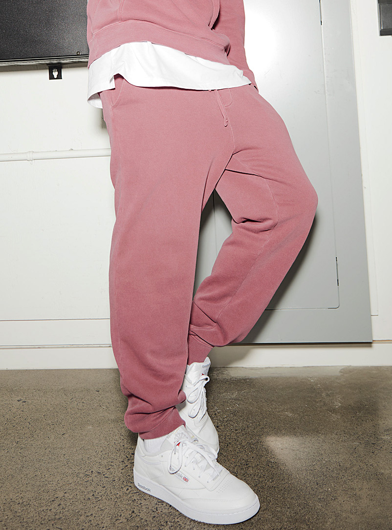 Djab Light Red Pigment-dyed fleece joggers for men