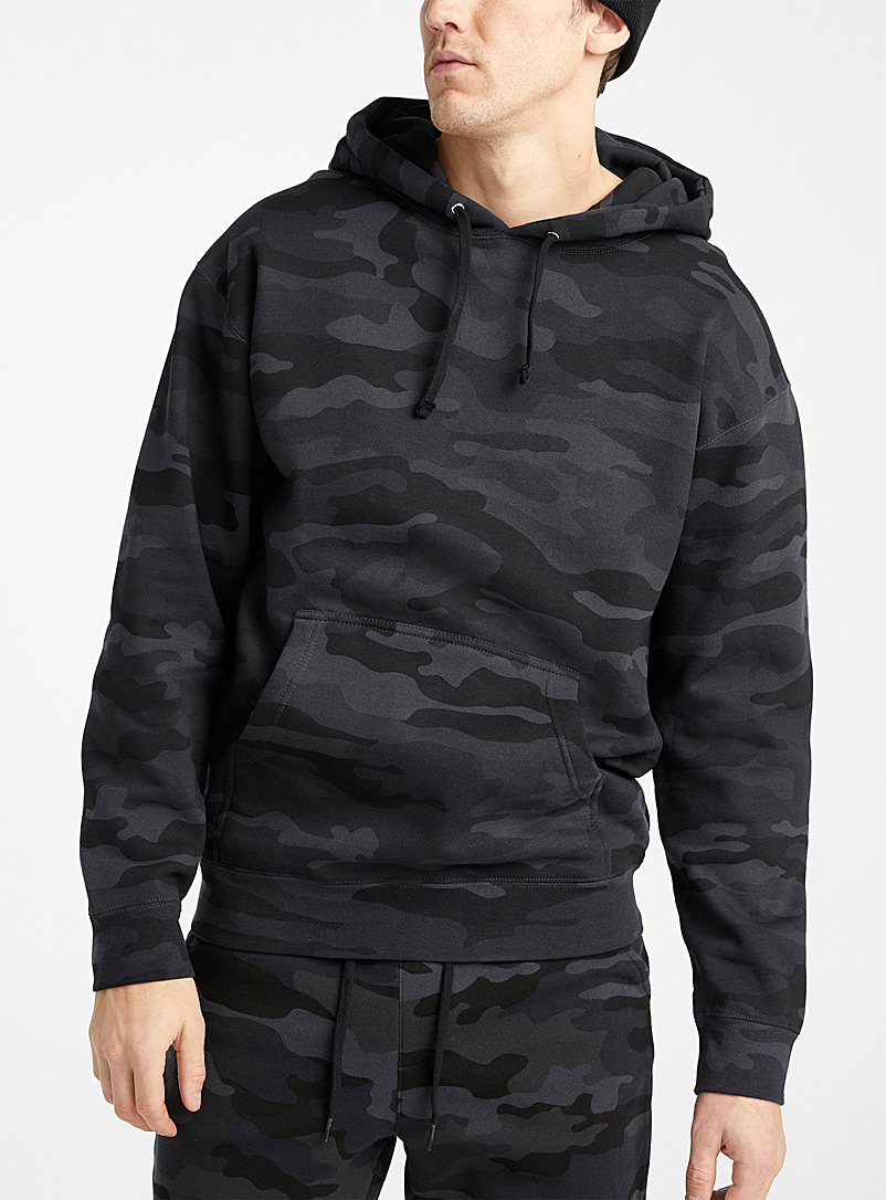 Djab Black Black camo hoodie for men