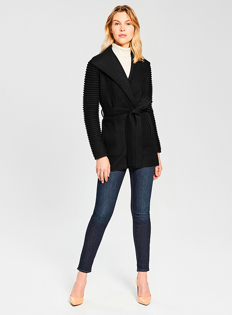 Sentaler Black Ribbed-sleeve wrap coat for women