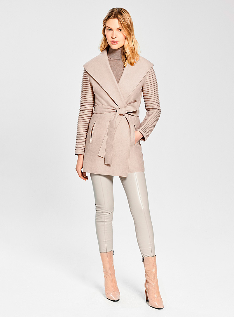 Sentaler Fawn Ribbed-sleeve wrap coat for women